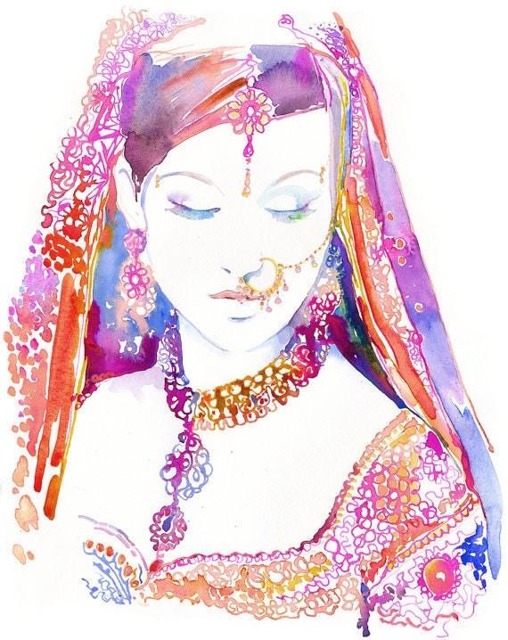 Indian Bride Print, Watercolour Indian Bride,  Brides, Indian Art, Indian Costume, Indian Wedding