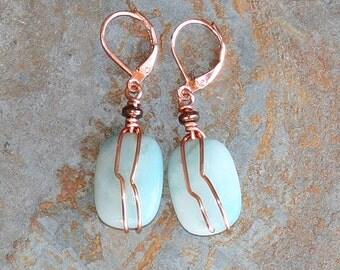 Amazonite Earrings, Copper Wire Wrapped Earrings, Natural Stone Earrings, Aqua Blue Earrings, Wire Wrapped Jewelry, Bohemian Earrings