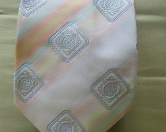 "Vintage Neck Tie Wemlon by Wembley, ""Over the Rainbow"" Pastel Stripes & Square Medallions, 3.75"" Wide, 54"" Long, Wedding, Party"