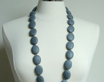 Betty Chunky Statement Matte Resin Bead Necklace in Charcoal Dark  Slate Grey Gray
