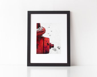 Red Rusty Fire Hydrant  fine art photography humorous print paw prints winter snow scene industrial 8 x 10 fireman art