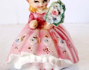 Lefton China Little Victorian Girl in Pastel Pink Dress Gold Leaf She Carries a Bouquet of Flowers Home and Garden Collectibles Figurines