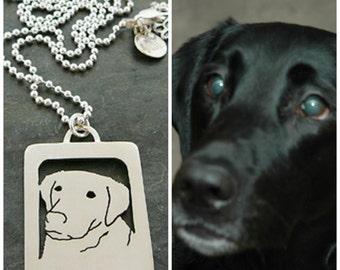Sterling Silver Necklace, Your Pet as a Pendant .. Open Back, Head Shot Personalized pet portrait Labrador Retriever