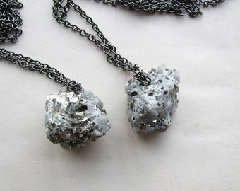 pyrite on matrix nugget necklace . natural raw pyrite necklace . rough pyrite nugget necklace