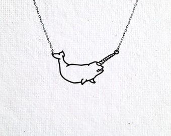 Narwhal necklace, tiny drawing illustration cut out