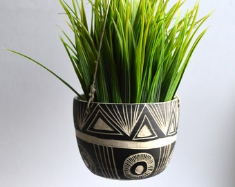 M O U N T A I N  S U N R I S E: ceramic hanging planter