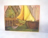Lena & Elena Boats in Harbor Painting on Canvas - Signed - Orange Chartreuse Yellow