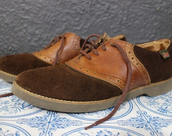 Vintage Bass Brown Suede Leather Oxfords Shoes Womens 8M