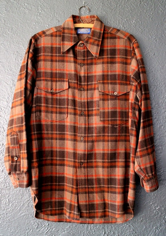 Men 39 s pendleton flannel shirt wool brown orange plaid for Brown and black plaid shirt