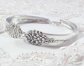 Spoon Bracelet, Bridesmaid Bracelet, Wedding Jewelry, FREE ENGRAVING Silverware Bracelet, Shabby Chic Silver Vintage Bracelet Moss Rose 1949