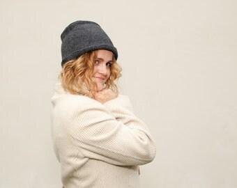 Felt hat gray color merino wool felt hat Original warm accessory Great gift idea