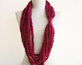 Black Friday Cyber Monday Crochet scarf tube infinity scarf magenta marsala wool scarf for women valentines day gift