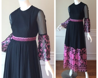 Vintage 1960s Maxi Dress with Bell Sleeves//Chiffon Maxi Dress in Black with Pink Rose Print