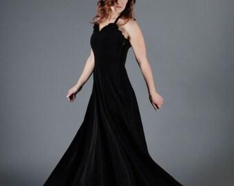 Vintage 1940s Dress - 40s Velvet Dress - Nightcap Velvet Gown