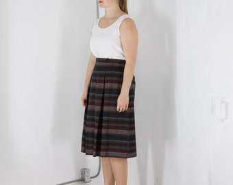 ON SALE Soft Knitted Skirt / Vintage High Waisted Stripped Skirt / Soft Wool Skirt