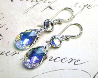 Crystal Teardrop Earrings in Crystal AB - Swarovski Crystal Teardrops and Sterling Silver Earrings