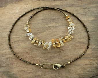 Dainty Citrine Necklace, rustic everyday yellow crystal November birthstone jewelry with golden tumbled citrine nuggets