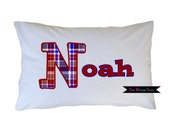 Personalized Name Initial Pillow Case Preppy Plaid Print Standard or Travel Size Available
