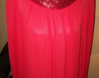 80s CHEZ by Tandy--NEIMAN MARCUS--Sheer Scarlet Maxi Dress--Bugle Beaded Collar and Cuffs