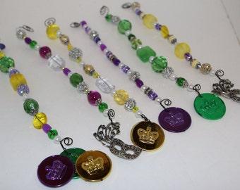 Mardi Gras Wire Wrap Wine Glass Charms Set of 6