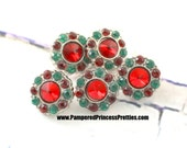 Set of 5- Anna 13mm Red/Green Buttons