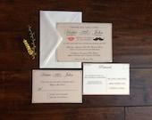 Mustache and Lips Wedding Invitation Suite, Hipster Lips and Stache Wedding Invite, Elegant Chic Stache and Lips Wedding Invitation