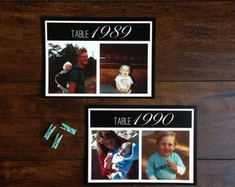 Wedding Table Numbers, Baby Photos Children Baby Pictures, Year Flashback Black and White Place Cards Wedding Decor, Table Number Pictures