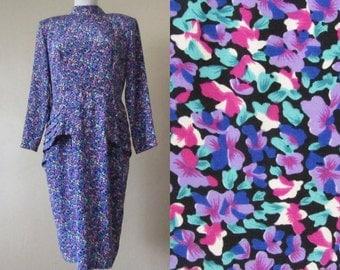 TEN DOLLAR SALE peplum hem mandarin collar floral print long sleeve vintage 80s secretary office wear kitsch hipster dress - large L