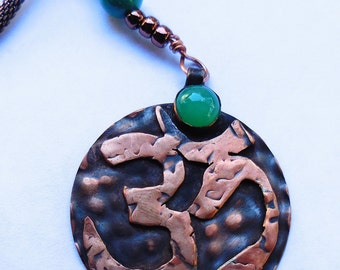Copper Om Pendant with A Green Stone