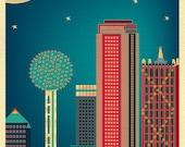 Dallas skyline Print,  Dallas Texas poster,  Dallas Vertical, Dallas Artwork, Dallas Wall Decor, Dallas Nursery Print, City - style E8-O-DAL