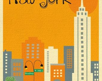 New York City Skyline Art Print, NYC Print, New York City Nursery Art, NYC Vertical Art Orange style -  E8-O-NY3 orange