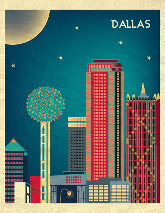 Dallas skyline Print,  Dallas Texas poster,  Dallas Vertical, Dallas Artwork, Dallas Wall Decor, Dallas Nursery Print, City - style E8-O-DAL