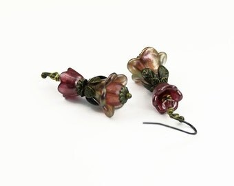 Rose Pink Gold Flower Hand Dyed Vintage Style Earrings with Brass ,Czech Glass, Swarovski Crystal, Gifts for Her