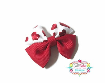 Valentine Day Bow, Hearts Hair Bow Clip, Valentines Hair Clip, Red and White Bow, Baby Hair Bow, Toddler Hair Bow, Baby Girl Hair Bow