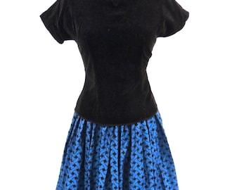 vintage evening skirt set - 1950s Gen-Way blue taffeta full skirt/velvet bustier set