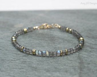 Labradorite Bracelet, Labradorite Jewelry, Brass, Blue Flash, Beaded, Layering Bracelet, Gemstone Jewelry