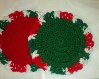 Set of  4 Crochet Doilies-Christmas