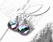 Wire Wrapped Crystal Earrings, Vitrail Light Swarovski Crystal Drops, Blue, Green, Pink, Sterling Silver Earwires
