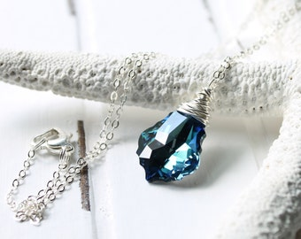 Tropical Blue Crystal Necklace, Swarovski Crystal Wire Wrapped Baroque Pendant, Ocean Pool Blue, Sterling Silver Chain, Beach Wedding