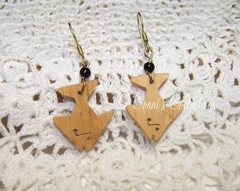 Handmade African Wooden Fish Earrings Vintage Ethnic Nature Natural Material Wood Carved Animal Wildlife Ocean