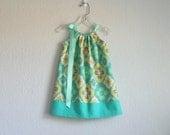 Girls Turquoise, Aqua and Lime Pillowcase Dress - Toddler Girls Geometric Print Sun Dress - Size 12m, 18m, 2T, 3T, 4T, 5, 6, 8 or 10