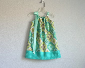 NEW! Girls Turquoise, Aqua and Lime Pillowcase Dress - Toddler Girls Geometric Print Sun Dress - Size 12m, 18m, 2T, 3T, 4T, 5, 6, 8 or 10