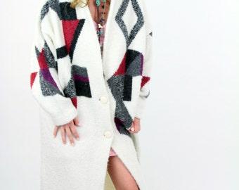 VTG BOHO Slouch Grandpa  Avant Garde Sweater Coat Dress Long Oversize Jacket Robe Geometric Op Art OS