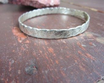 Old Vintage Sterling Silver Mexican Bangle Bracelet