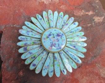 Vintage Blue speckled Floral Enamel Pin Brooch 1960s