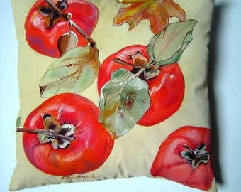 Persimmons Hand Painted Pillow 12x12 Fall - Winter Home Decor Holiday Accent