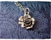 Silver Rose Necklace - Antique Pewter Rose Charm on a Delicate Silver Plated Cable Chain or Charm Only