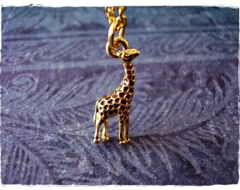 Gold Giraffe Necklace - Gold Giraffe Charm on a Delicate Gold Plated Cable Chain or Charm Only