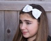 Large White Hair Bow Headband. White Bow Headband. Girls Hair Accessories. Teen Hair Accessories. Hard Headband. Christening. Flower Girl