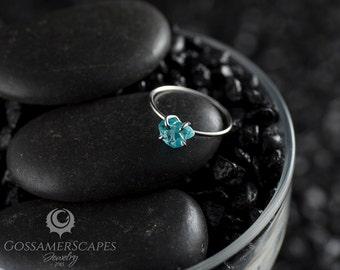 Rough gemstone ring, sterling silver, aqua blue apatite, claw setting